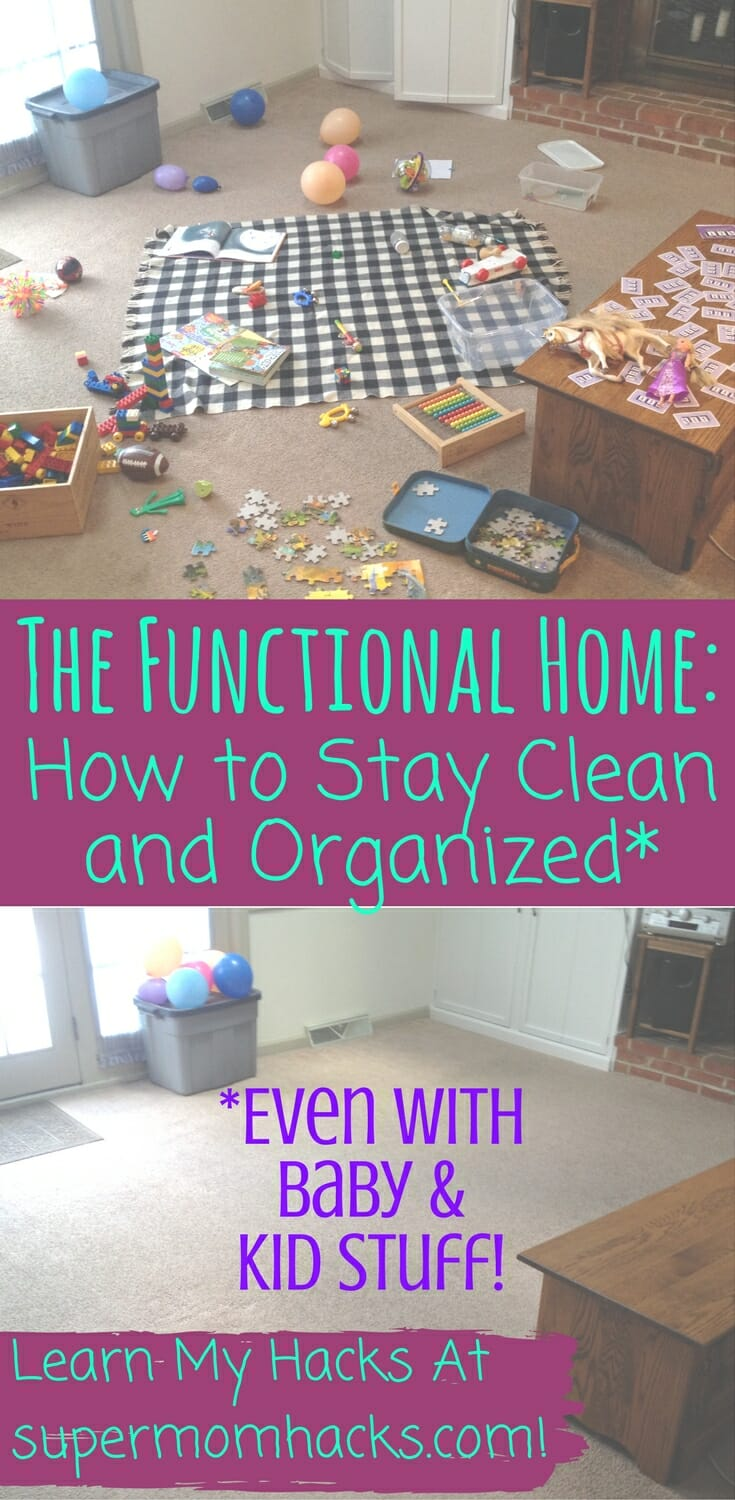 Maintaining an organized home is always a challenge. These tricks will help you keep your home organized AND functional, even with kids (and their stuff!) around.