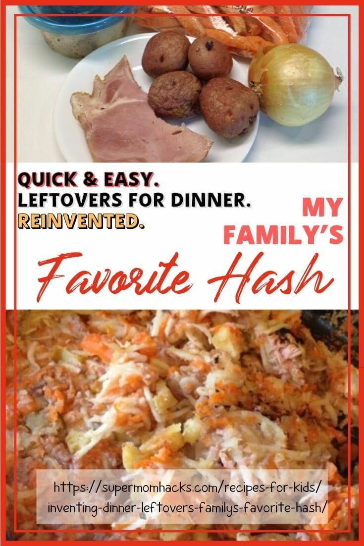 Hash is a delicious, fast, and easy way to reinvent the leftovers lurking in your fridge into a tasty new meal. My kids LOVE hash; I hope yours do, too!