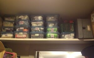 This shelf inside the entrance to our small walk-in closet reclaims otherwise wasted space.