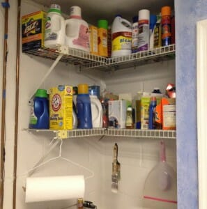 Our laundry room needed a space to store extra detergent, stain removers, and little-used cleaning supplies.