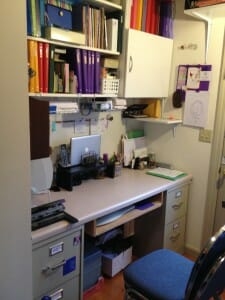 After adding a new cubby-with-door plus shelves, file cabinets, and countertop recycled from my old condo, we have a functional home office with lots of storage.