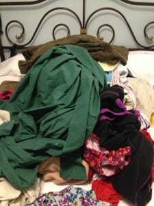 Can you find the two preschoolers hidden under this mountain of laundry?