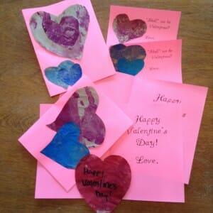 homemade fingerpainted Valentines