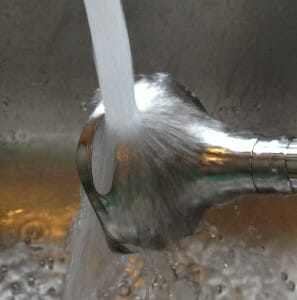 Washing the dishwasher-safe blending wand takes only seconds in the sink.