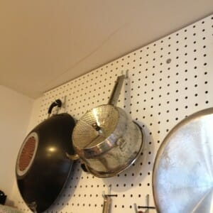 our Foley Food Mill on our pegboard
