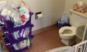 As the sizable cache of spare diapers in the Tadpole bathroom suggests, for Essie and her classmates this past year, toilet-training is definitely a work in progress.