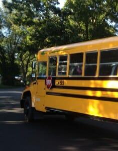 departing school bus