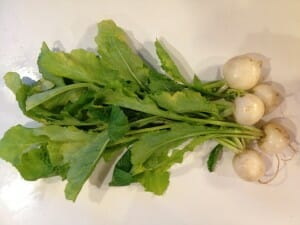Turnips plus greens, both of which went into the pot the last time I made this soup