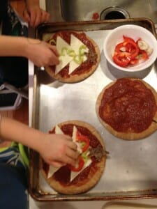 making the pizzas
