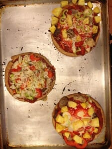 cooked pizzas