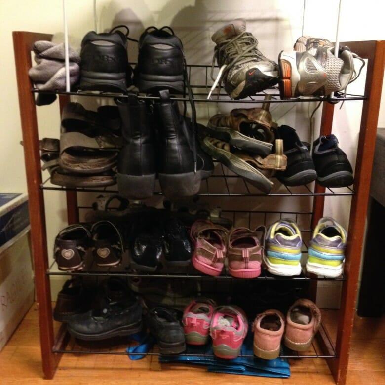 shoe rack just inside the door