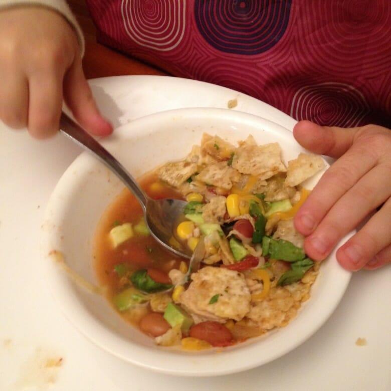 Essie digs into Chicken Tortilla Soup