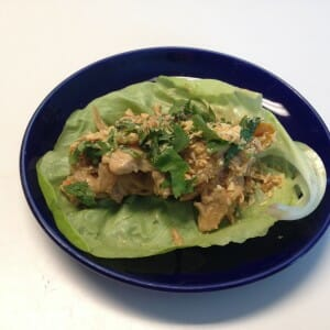 thai peanut chicken boats