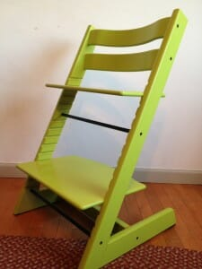 Kimmie LOVES her Stokke chair, from its bright green color to the fact that it has a footrest perfectly adjusted to her size.