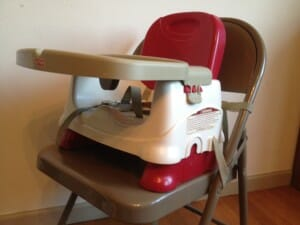 The Fisher-Price booster seats easily strap onto most chairs, as well as park benches and picnic table seats.