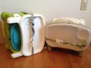 The Fisher-Price seats also pack up easily into a small portable bundle that is as easy to carry as a purse (except it probably weighs less).