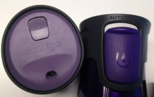 Contigo's lock buttons seal beverages inside your mug, guaranteeing a leakproof ride.