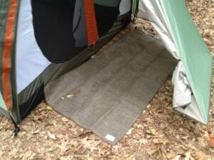 our tent's backdoor CGear mat