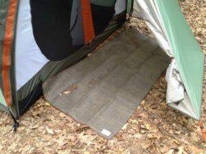our tent's backdoor CGear mat