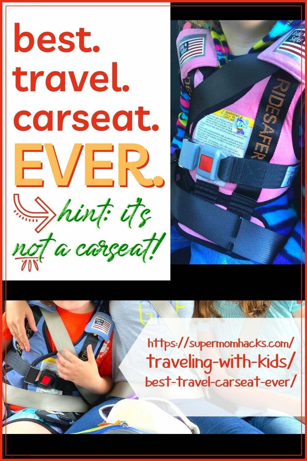 Looking for a new carseat that's friendly to everything from airline travel to carpools? Here's my pick for the best travel carseat EVER. Best Travel Carseat Ever (Hint: it's not a carseat!) - SuperMomHacks | travel car seat for 3 year old | best travel car seats for 3 year old | best car seat to travel with | travel car seat booster | travel with car seat | travel car seat bag | travel car seat cart | travel car seat lightweight | travel car seat vest | how to fly with a car seat