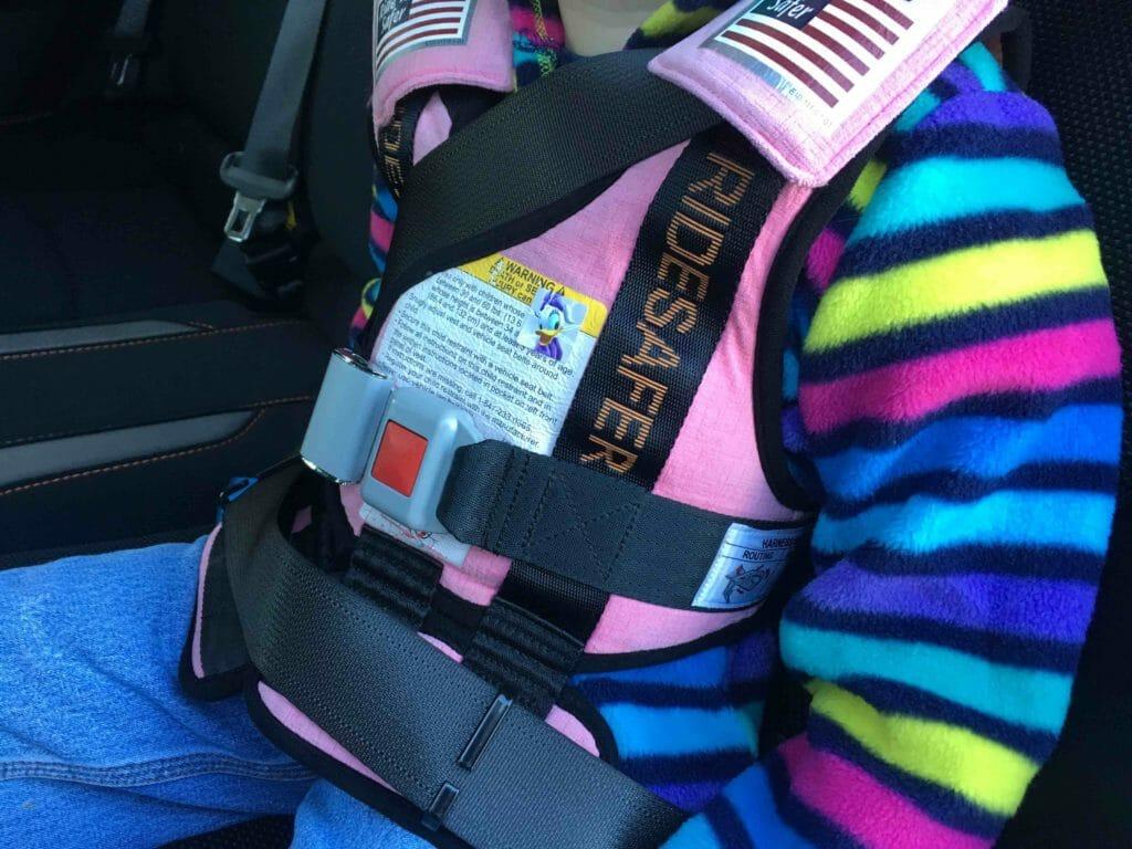 Essie wearing her RideSafer vest