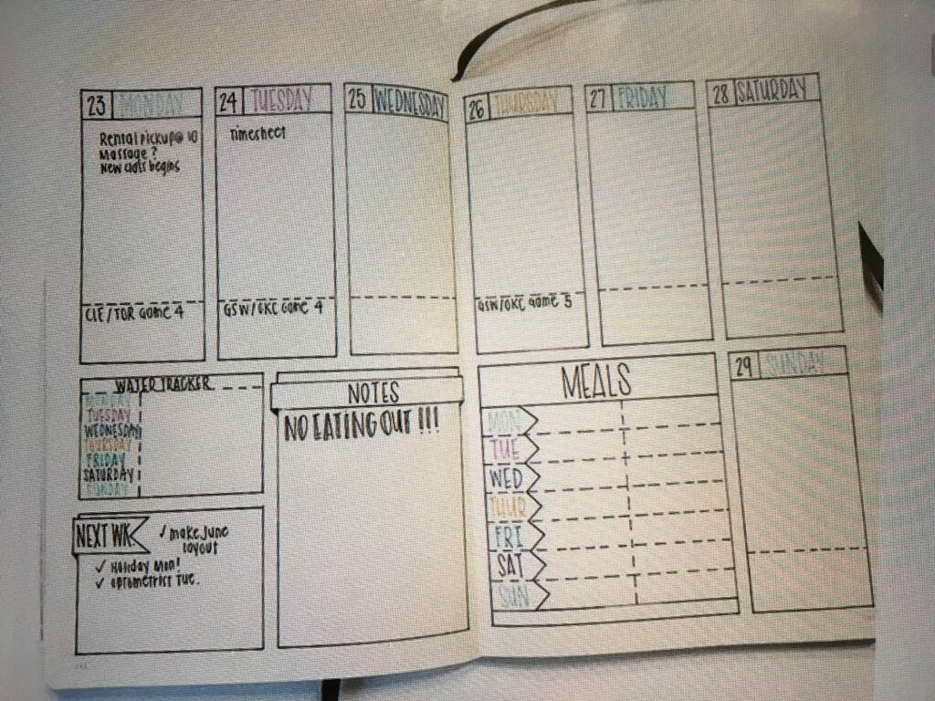 sample bullet journaling weekly log layout