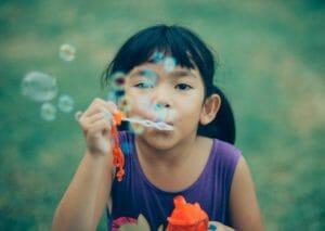 blowing bubbles = DIY camp fun