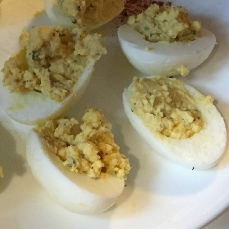 dijon deviled eggs closeup