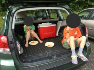 Breakfast tailgate last week before dropping Kimmie off at sleep-away camp