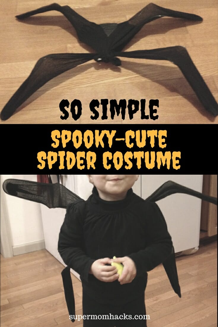 Want an easy DIY Halloween costume you can assemble in 15-30 minutes, from things you probably have on hand? If so, give this adorable spider costume a try!