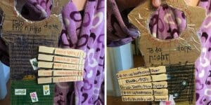 Do your kids need a morning-routine reboot? Or help remembering after-school chores? This clothespin chore chart tutorial has tips and examples to help them create their own!