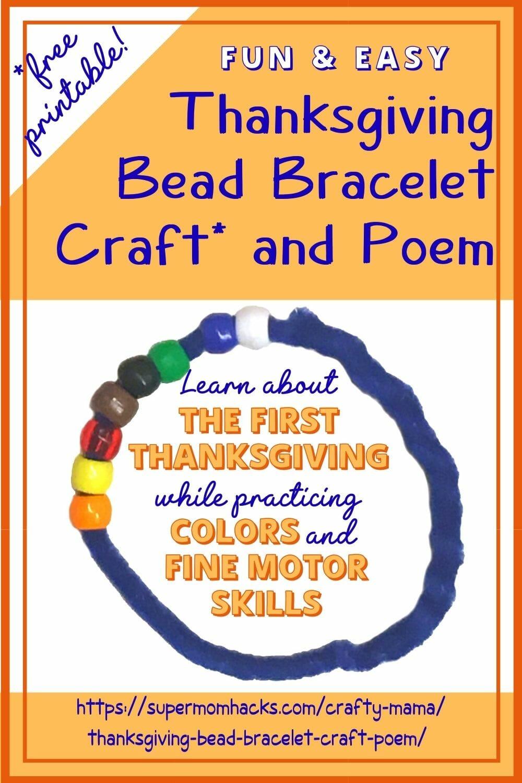 Thanksgiving Bead Bracelet Craft & Poem (Free Printable!)