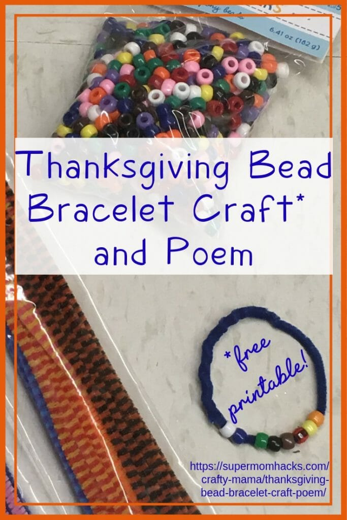This cute Thanksgiving bead bracelet is a great opportunity to teach your kids the history of Thanksgiving, while practicing colors and motor skills!