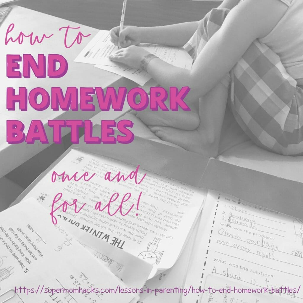 Do your kids have a hard time getting their homework done after school without lots of prodding? These tips can help you end homework battles for good!