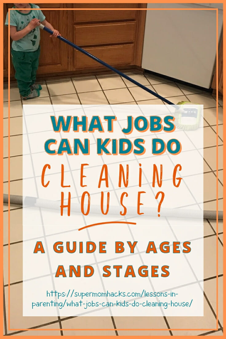 Have you ever wondered what jobs kids can do cleaning house? The answer is more than you think! Here, a guide by age to what you can expect developmentally.