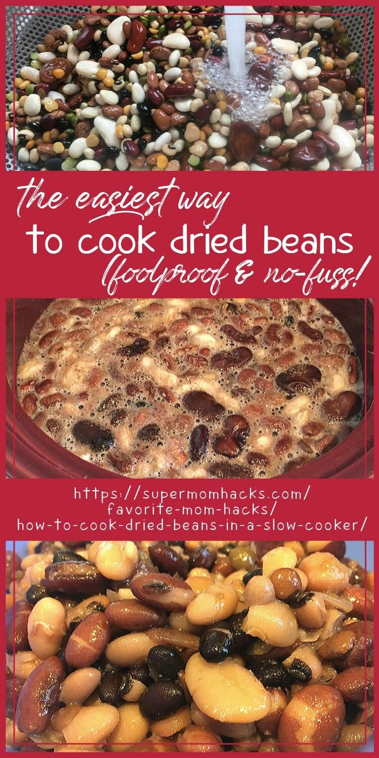 Looking for easy healthy meals? Knowing how to cook dried beans in a slow cooker, the EASY way, is the ultimate in easy meal prep slow cooker recipes.