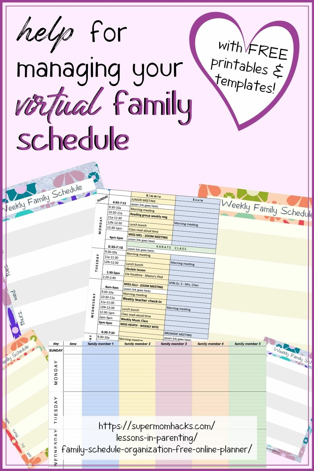 Having a hard time keeping track of everyone's virtual appointments and online meeting links? Download my virtual family schedule planner (FREE templates)!