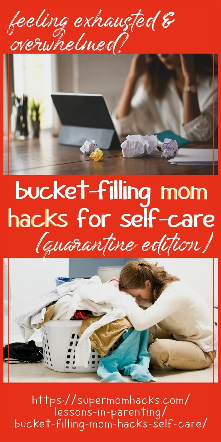 Exhausted parents, it's time to give yourself some grace. These bucket-filling mom hacks for self care will help you regain your balance when life is tough.