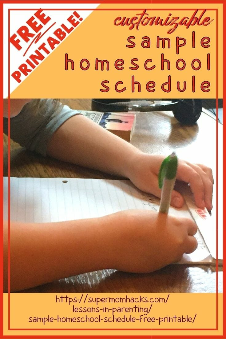 Is your family trying to learn how to homeschool on the fly, like we are? I'm sharing our sample homeschool schedule to help others get started. Our Sample Homeschool Schedule (Free Printable!) - Super Mom Hacks | homeschool schedule | daily routine schedule | daily routine | 5th grade homeschool daily schedule chart | 3rd grade homeschool daily schedule chart | homeschool schedule sample chart | free homeschool schedule chart printable | customizable homeschool schedule printable chart
