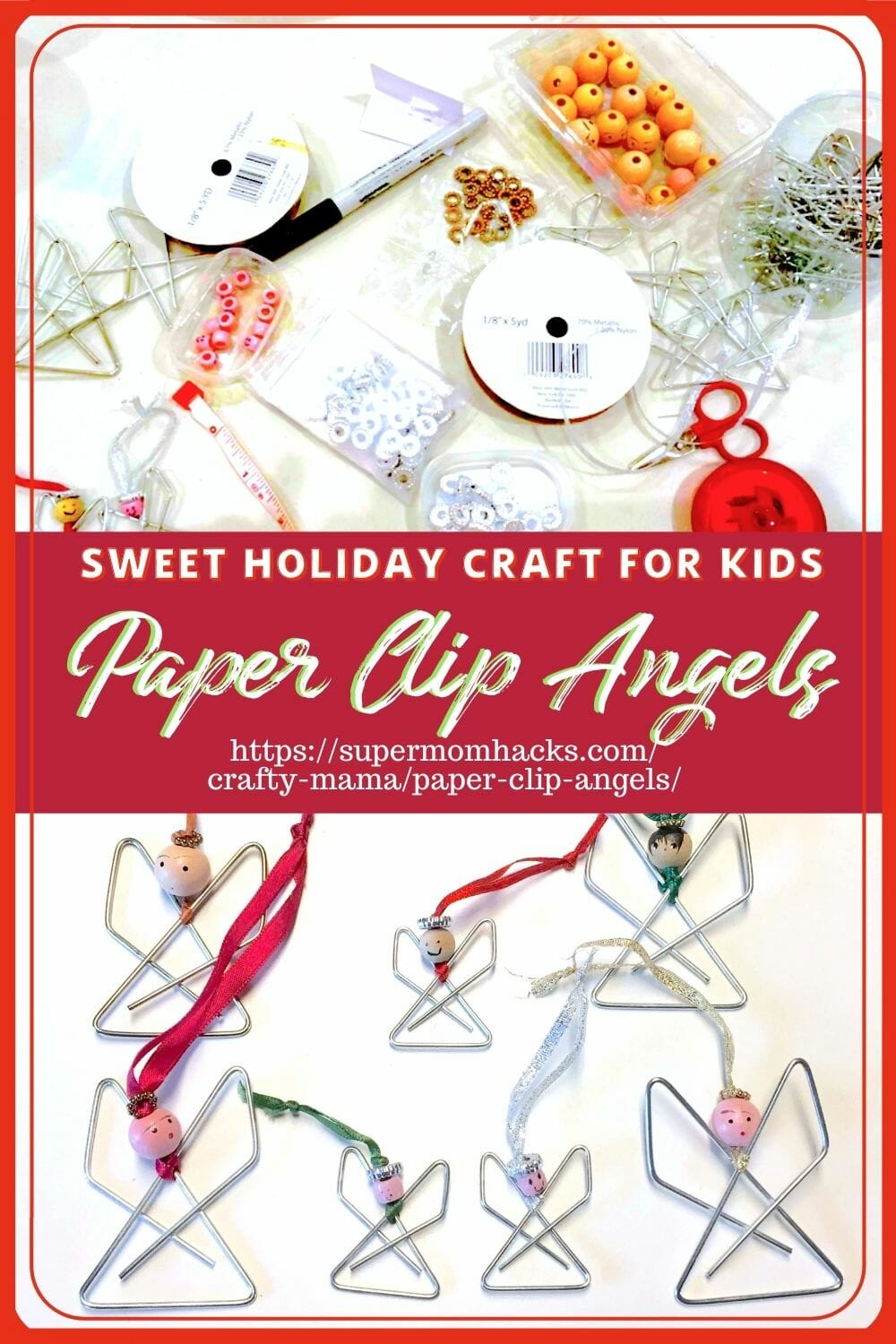 Looking for a cute, easy, kid-friendly holiday craft? These paper clip angels make great teacher gifts. Paper Clip Angels (Cute Homemade Christmas Ornament) - SuperMomHacks | paperclip angel | paperclip angel craft | paperclip angel ornament | paperclip angel tutorial | paperclip angels | homemade christmas ornaments | easy diy holiday ornaments | easy holiday ornament crafts | easy holiday ornament ideas | diy christmas ornaments | easy christmas ornament ideas | holiday teacher gift ideas