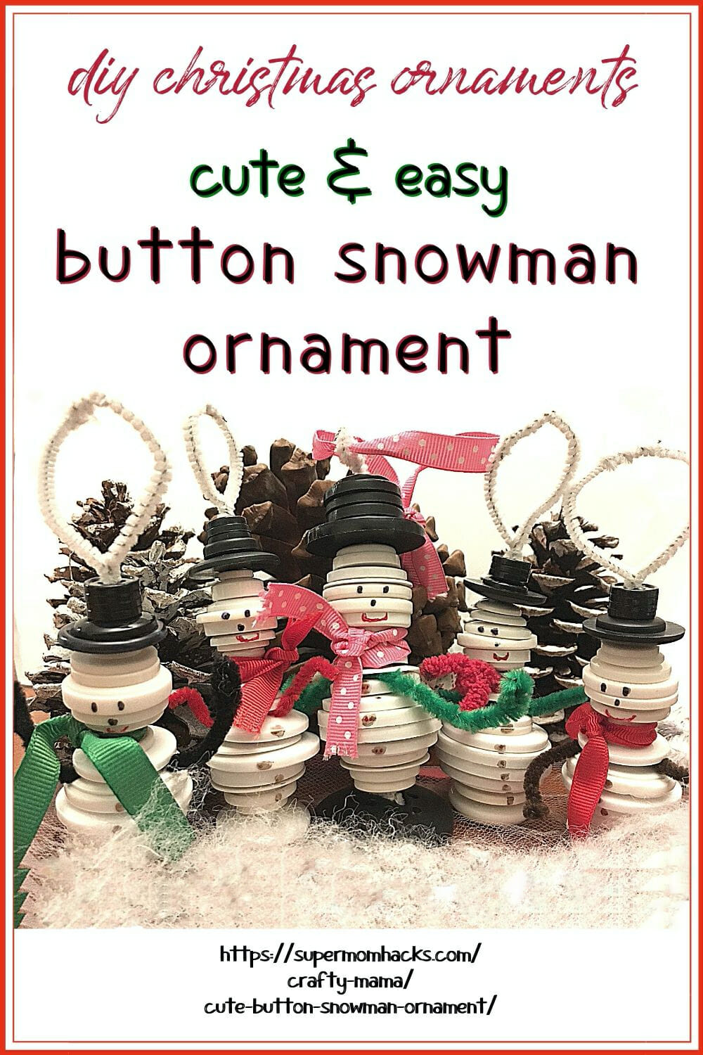 These cute button snowman ornaments make great DIY Christmas gifts while helping little hands practice sorting and fine motor skills.