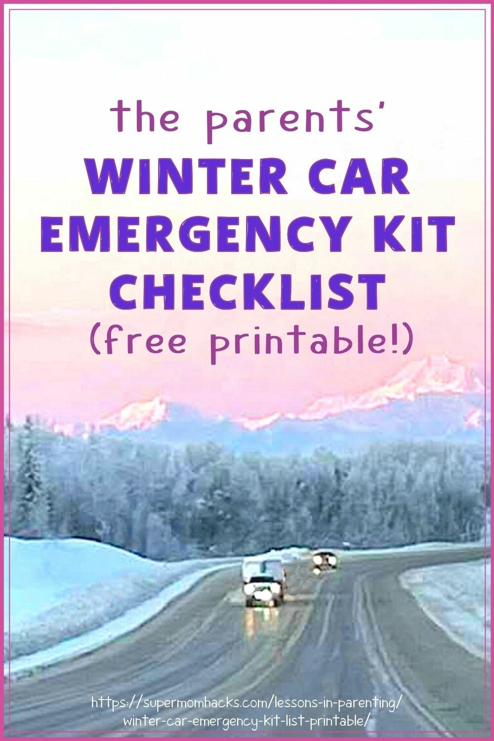 Is your family car ready for winter driving? It's never too late to prepare your winter car emergency kit; this checklist will help. Parents' Winter Car Emergency Kit Checklist (Free Printable)/SuperMomHacks | preparing an emergency kit for your car | emergency car survival kit list | basic car emergency kit list | how to make an emergency kit for your car | winter car survival kit list | winter driving safety | winter driving safety tips | winter driving preparedness checklist | winter car kit